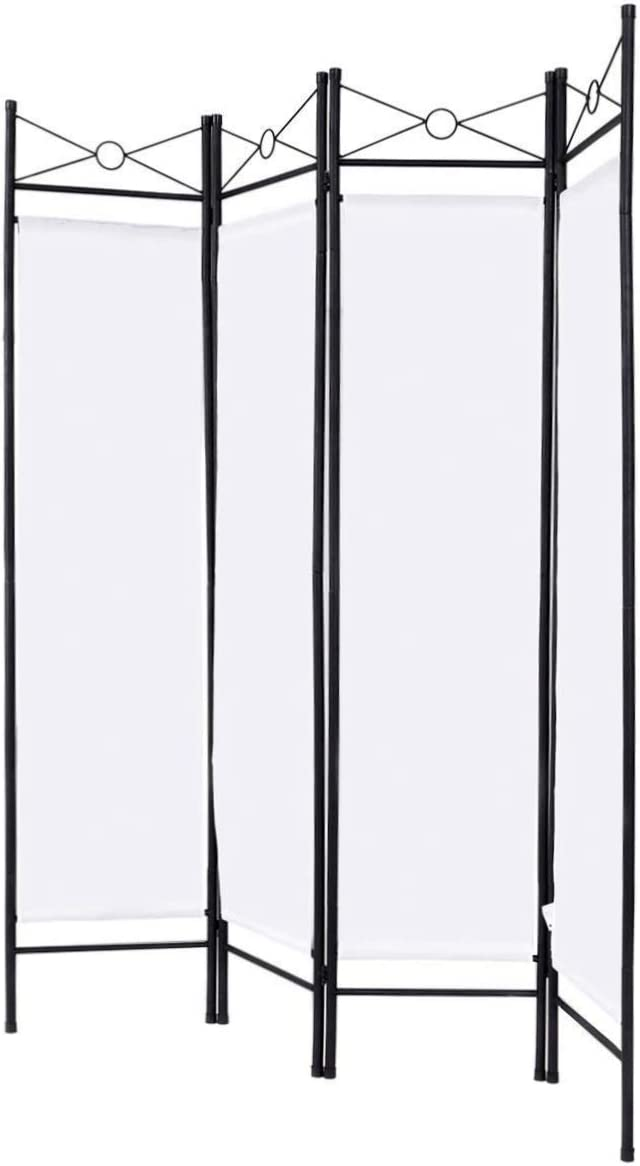 Blitzzauber24 Multiuso Separ/è Divisorio Paravento 4 Pannelli Richiudibile in Ferro Laccato 180x160cm