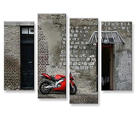 Bild Bilder Auf Leinwand Rotes Motorrad 4er XXL Poster Leinwandbild  Wandbild Dekoartikel Wohnzimmer Marke Islandburner