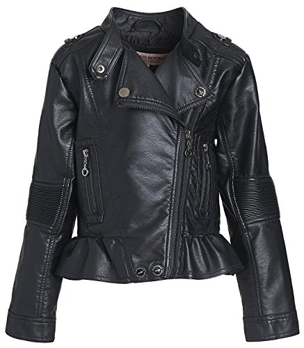 Urban Republic Kids Girl's Distressed Faux Leather Jacket (Little Kids/Big Kids) Black Outerwear (Kids Leather Distressed)