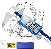 Pied a Coulisse, Qfun Pied à Coulisse Digital 150mm Acier Inoxydable Grand Écran LCD Précision Réglable 0.02mm, mm/inch...