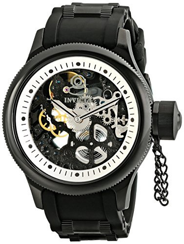 Invicta Men's 1091 Russian Diver Stainless Steel and Black Polyurethane Watch with Skeleton Window ()