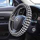 Velvet Grip Steering Wheel Cover - Houndstooth Black & White - Digital Zebra