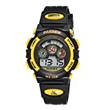 Kids Digital Sport Watches Waterproof Watch for Boys Girls with Back light, Day / Date, Black Yellow