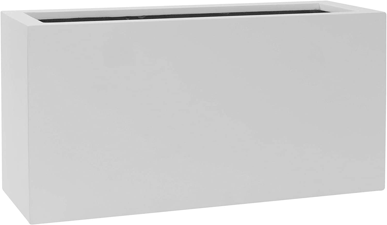 Envelor Natural Jort S Planter Box - Fiberstone - Rectangular Container for Indoor or Outdoor Growing - Grow Plants, Flowers, Orchids, Succulents - Use in Garden, Patio or Porch - Matte White, 32