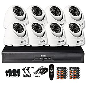 ZOSI 8CH Security System Kit 2CH D1 6CH CIF Recording DVR with 8PCS 900TVL 65ft Long Night Vision Outdoor/Indoor Video Camera Surveillance Remote Access with 500GB HDD
