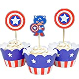 Betop House Set of 12 Pieces Captain America Super Heros Themed Cartoon Party Kids Birthday Baby Shower Cake and Cupcake Decorative Topper Wrappers Kit Party Supplies