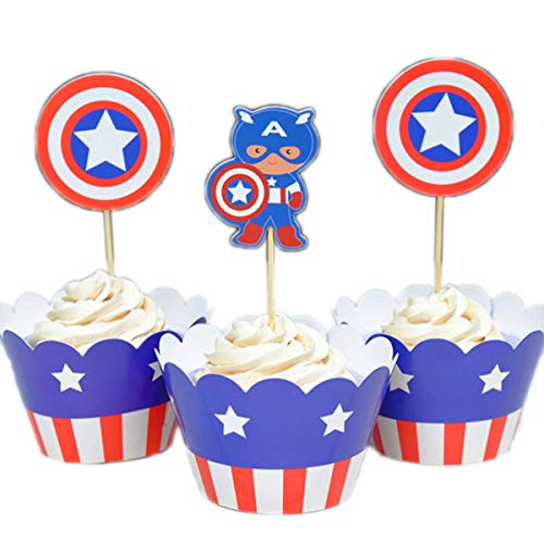 Betop House Set of 12 Pieces Captain America Super Heros Themed Cartoon Party Kids Birthday Baby Shower Cake and Cupcake Decorative Topper Wrappers Kit Party -
