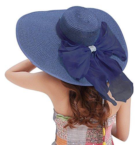 Kaisifei Bowknot Casual Straw Women Summer Hats Big Wide Brim Beach Hat (Navy-2)