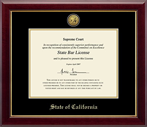 State Seal of California Document Frame - Features Gold Engraved Medallion of Official State Seal - Perfect Frame for State Bar License - By Church Hill Classics