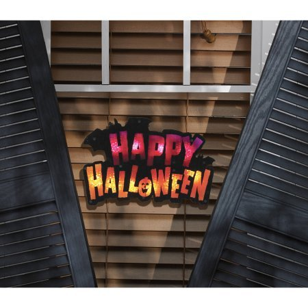 Impact 16'' Lighted ''Happy Halloween'' Sign Window Silhouette with Halloween Trick Or Treat Lighted Shimmer Ornament Halloween Decoration (Pack of 2)