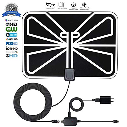 [2019 Newest] HDTV Antenna,240 Mile Range Indoor/Outdoor TV Antenna HD with Omni-Directional 360 Degree Reception for FM/VHF/UHF