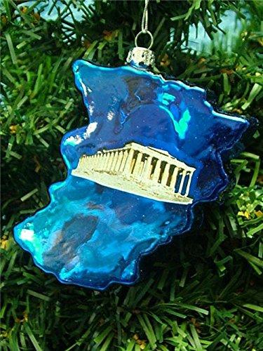 Blown Glass Greece Greek Country Shape Parthenon Christmas Tree Ornament