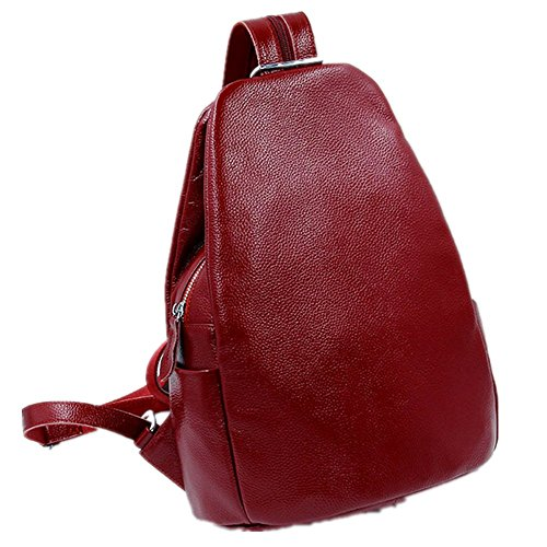 Schoolbag Leather Backpack Real Travelling Bag Wine Women's Red FwXqCq
