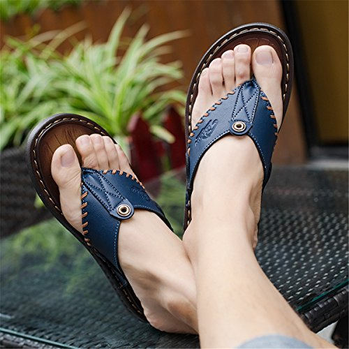 Outdoor Shoes Blue Sandals T gracosy Comfortable 2 Leather Flop Breathable Lightweight Summer Indoor Flip Walking Non Casual Soft Clip Beach Slip Slippers Thongs Flats Men's Toe Strap Pool RFROxva