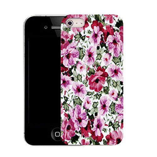 Mobile Case Mate IPhone 4s clip on Silicone Coque couverture case cover Pare-chocs + STYLET - pink garden patch pattern (SILICON)