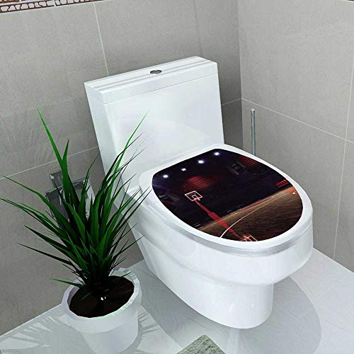 Auraise-home Vinyl Decal and Ground Sports of Empty Basketball Court SportArena with Spot Lights and Wood Floor Brown Black Decoration for Bathroom Toilet W11 x L13
