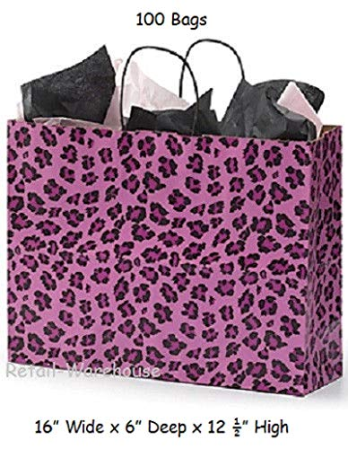 100 Paper Bags Shopping Leopard Cheetah Pink Retail