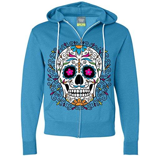 Male Sugar Skull Face Paint (Dia De Los Muertos Pastel Sugar Skull Zip-Up Hoodie - Turquoise)