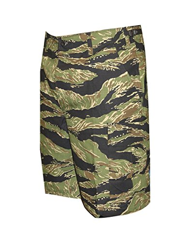 TRU-SPEC Men's BDU Zipper Fly Shorts, Original Vietnam Tiger Stripe, Large/Regular (Boots Mens Side Stripe)
