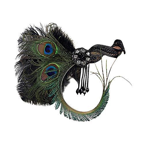 (OMINA Headband 1920s Feather Flapper Great Gatsby Headdress Fashion Vintage Hair Accessories)
