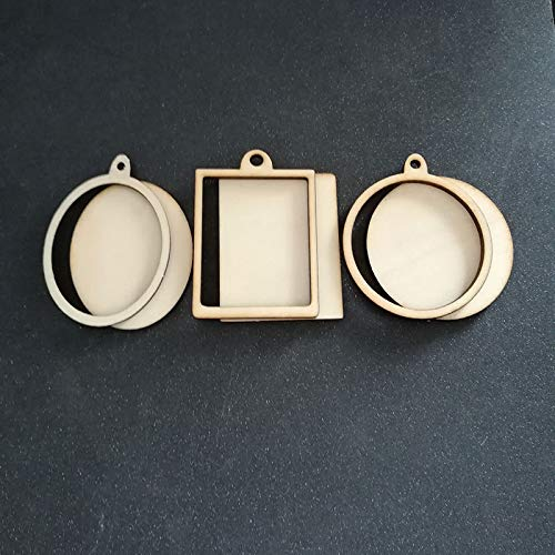 LooBooShop 60pcs (6styles) Blank Unfinished Wood Frame Charm Pendant Oval Rectangle Round Circle Scrapbooking Wooden Jewelry DIY Crafts (Rectangle Picture Frame Charms)