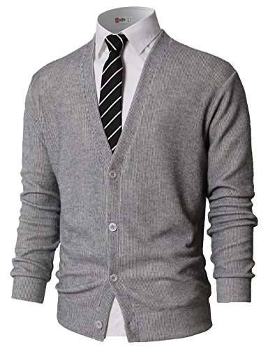 H2H Mens Casual Basic Designed Long Sleeve V-Neck Front Button Cardigan Gray US XL/Asia 2XL (KMOCAL0179) ()
