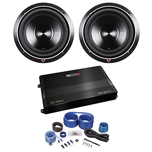 "2 Rockford Fosgate Punch P3D4-10 10"" 2000W Subwoofers+MB Quart Amplifier+Amp Kit"