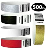 Goldistock Perfect Combo Variety Pack Set C- 500 Count (100/Color)- 3/4'' Tyvek Wristbands- Metallic Gold & Silver, Tux Black Formal White, & Deep Red- Event ID Bands (Paper - Like Texture)