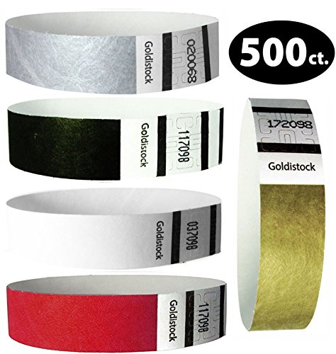 "Goldistock Perfect Combo Variety Pack Set C- 500 Count (100/Color)- 3/4"" Tyvek Wristbands- Metallic Gold & Silver, Tux Black Formal White, Deep Red- Event ID Bands (Paper - Like Texture)"