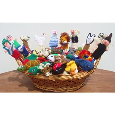 NEW ARRIVAL PERUVIAN ASSORTMENT VARIETY OF ANIMALS, INSECTS, BIRDS AND PEOPLE 10 FINGER PUPPETS TOYS HAND KNITTED: Toys & Games