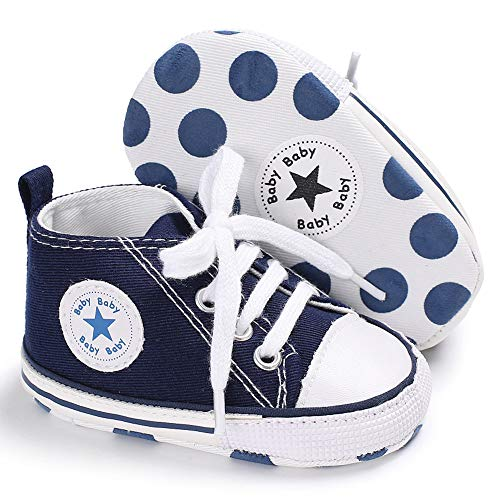 PanGa Baby Girls Boys Canvas Shoes Soft Sole Toddler First Walker Infant High-Top Ankle Sneakers Newborn Crib Shoes (6-12 Months M US Infant, Dark Blue) ()