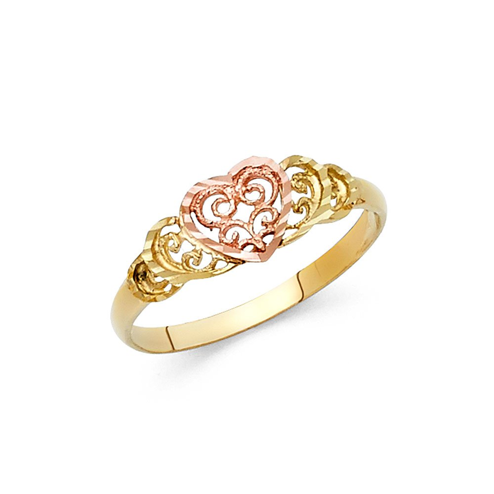 Heart Ring 14k Yellow Rose Gold Love Band Filigree Style Diamond Cut Polished Two Tone 7MM, Size 6