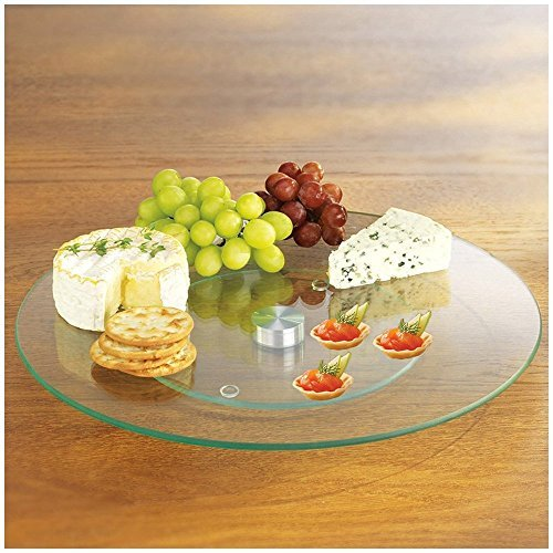 MareLight Tempered Glass 10 Inch Lazy Susan And Rotating 360° Serving Platter - Round Table Centerpiece - Counter Art Elegant Tabletop For Cabinet Organization And Cheese Tray (Walmart Round Glass Table Top)