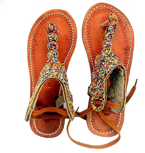 African Women Footwear Summer Bead Flat and Slim Colorful Sandals