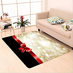 Sophiehome skid Slip rubber back antibacterial  Area Rug christmas background with red bow and glittery gold theme 86304292 Home Decorative