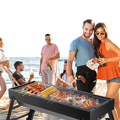 LETION UTTORA Charcoal Grill Barbecue Portable BBQ &Stainless Steel Folding Grill Tabletop Outdoor Smoker BBQ for Picnic Garden Terrace Camping Travel 23.62\