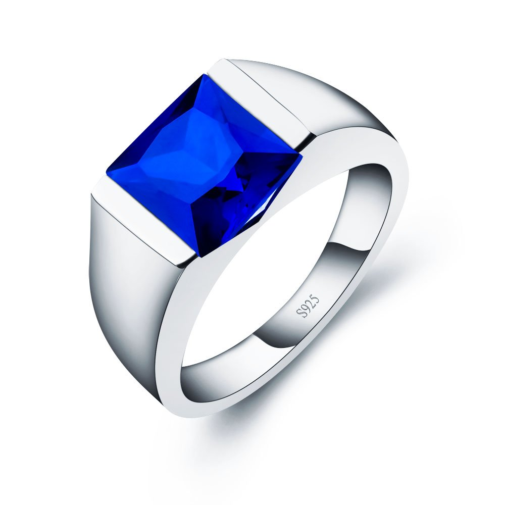 ANGG Men's Sterling Silver Ring Created Sapphire Emerald Smoky Quartz Wedding band