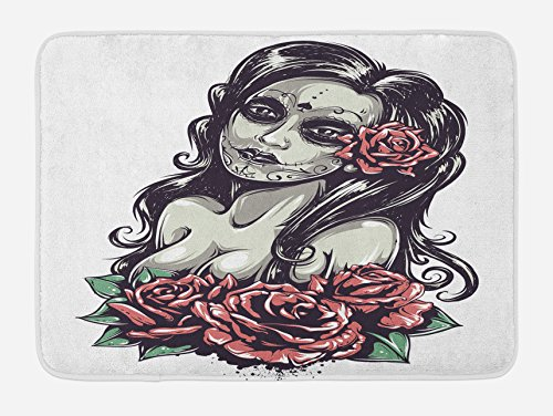 Lunarable Girls Bath Mat, Dead Sexy Girl Roses Mexican Sugar Skull Makeup Aztec Culture Figure Zombie Concept, Plush Bathroom Decor Mat with Non Slip Backing, 29.5 W X 17.5 W Inches, Black Pink by Lunarable