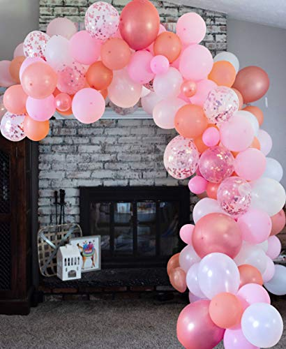 (Vivuzono Balloon Arch Garland Kit | Pink Rose Gold White Balloons in Assorted Sizes | Decorations for Parties Wedding Baby Shower Graduation | Includes Glue Dots Strip)