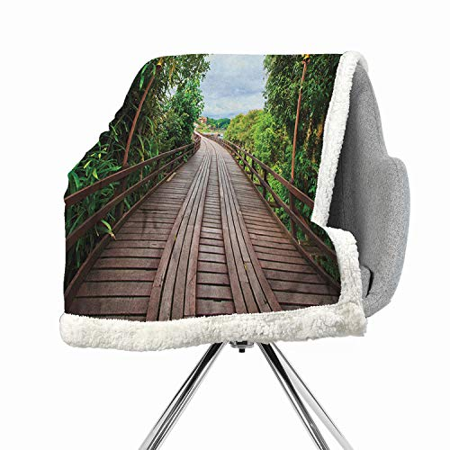 Hello Kitty Lamb Blankets - Khakihome Landscape Blanket Small Quilt 60 by 78 Inch Sherpa Brown GreenWooden Bridge Between Exotic Trees Jungle Freshening Relax Road Nature Image