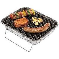 Einweggrill klein silber One-Way Camping Picknick ✔ eckig ✔ tragbar ✔ Grillen mit Holzkohle