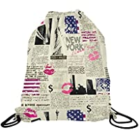 fan products of InterestPrint Basketball Drawstring Bags Backpack Patchwork Pattern, Polyester Sports Equipment Bag Travel Daypack Gym Bag, Waterproof Twin-sided Print