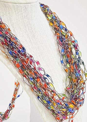 CROCHETLACES Adjustable Soft LIGHTWEIGHT Crochet Yarn Necklace Scarf Gift Idea- Balloons -