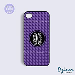 Monogrammed iPhone 4 4s Case - Purple Black Pattern iPhone Cover