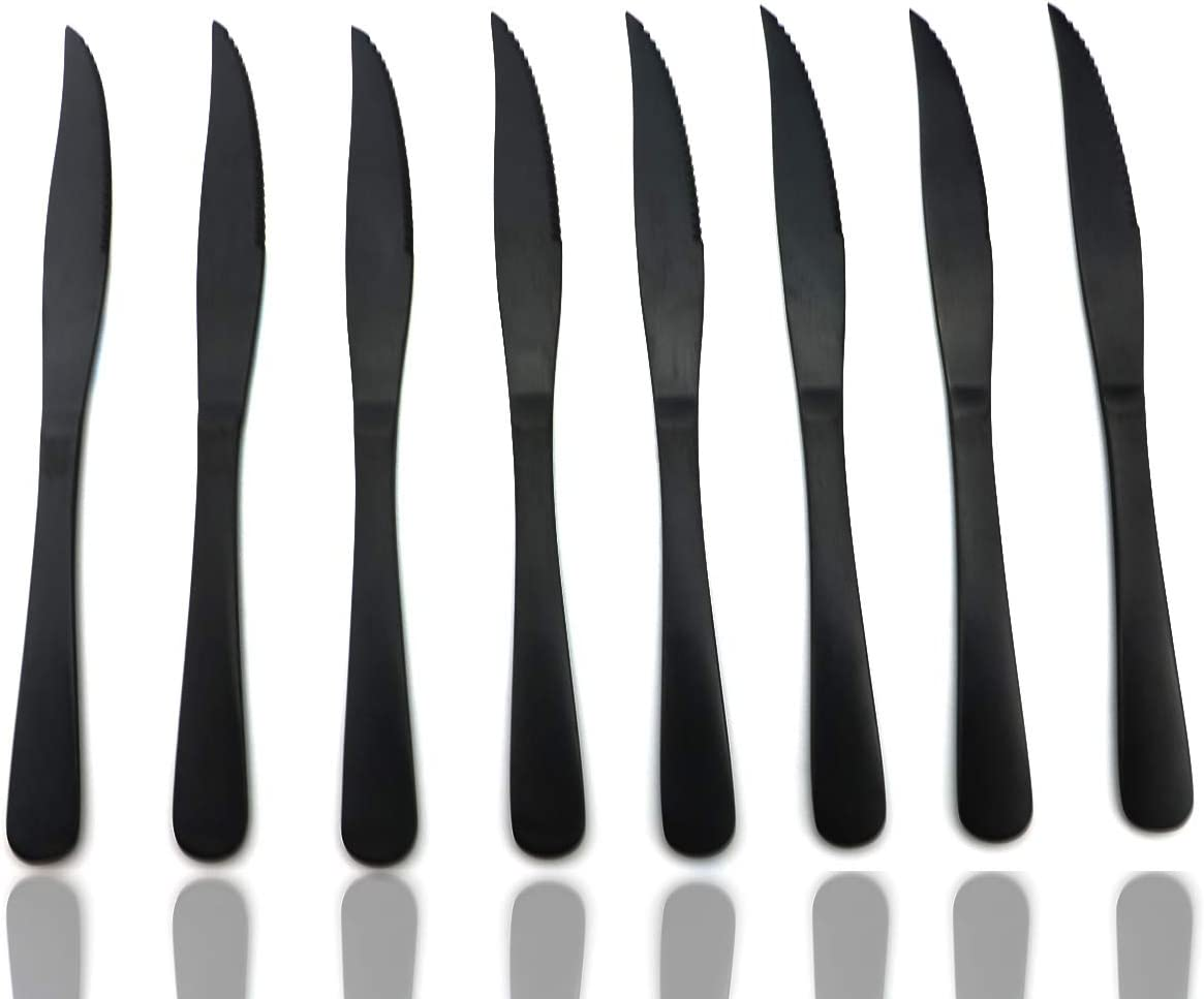 JASHII Modern Royal 8 Pcs Steak Knife Matte Black 18/10 Stainless Steel Utensils Cutlery Dinnerware Knife Serrated Steak Knife
