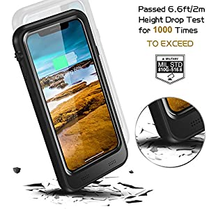 2018 iPhone X Waterproof Battery Case With Qi Wireless Charging, Temdan Upgraded 3400mAh Charger Case with Screen Protector Rechargeable Power Charging Case Extended Battery Case for iPhone X 2018