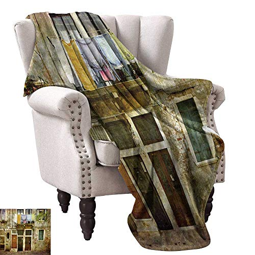 WinfreyDecor Venice Decorative Throw Blanket Old Weathered Building Facade with Hanged Clothes Murano Island Grunge Architecture Traveling,Hiking,Camping,Full Queen,TV,Cabin 30