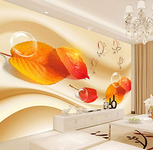 - Murals Photo Wallpaper 3D Living Room Sofa Tv Hd Fashion Red Maple Leaves Butterfly Bubble Large Mural 3D Wall Murals Wallpaper Yynight-200cmx140cm