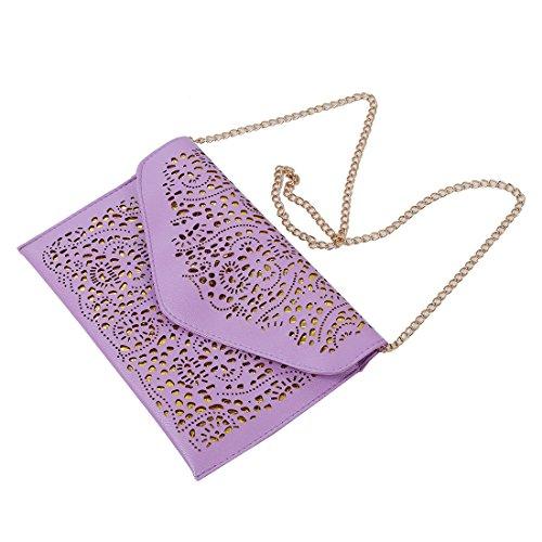 SODIAL(R) Vintage Nacional Bolso de la tendencia de mujer Bolsa del sobre del recorte Bolsa crossbody de hombro Bolsa de mujer de embrague Azul Purpura