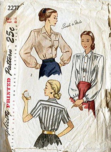 Simplicity 2277 c Vintage 1940s Sexy Secretary Blouse Shirt Pattern ()